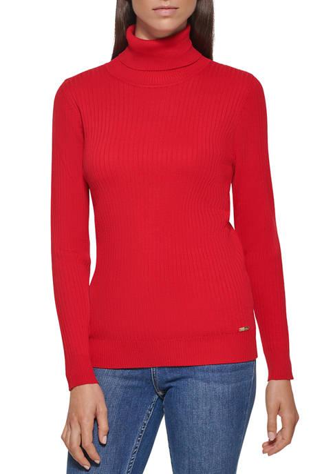 Calvin Klein Womens Allover Rib Turtleneck Sweater