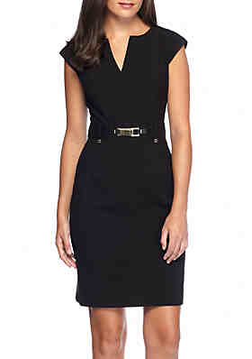 Calvin Klein Gold Buckle Sheath Dress