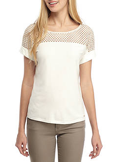 Calvin Klein Short Sleeve Top With Lace Yoke