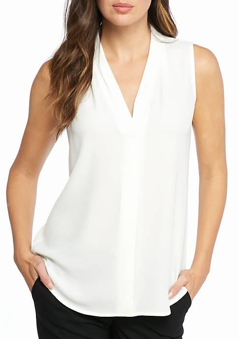 Calvin Klein Pleated V-Neck Blouse