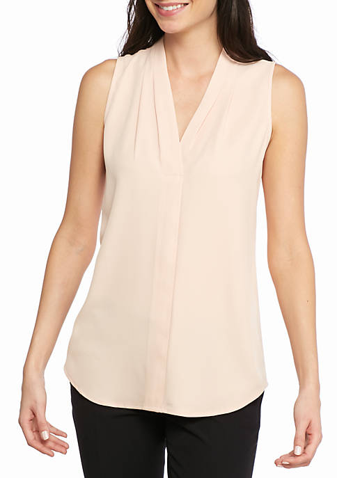 Calvin Klein Womens Pleated V-Neck Blouse