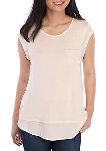 Calvin Klein Essential Cap Sleeve Scoop Neck Pocket Tee