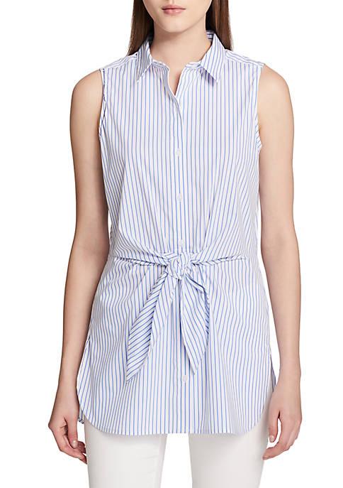 Calvin Klein Sleeveless Stripe Tie Front Blouse