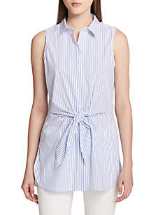 Sleeveless Stripe Tie Front Blouse