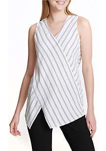 Sleeveless Pin Stripe Blouse