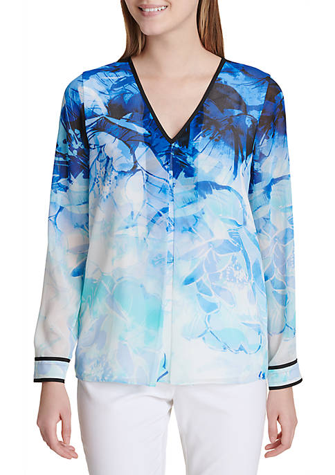 Calvin Klein Printed Long Sleeve Top With Binding