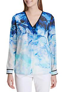 Printed Long Sleeve Top With Binding
