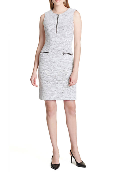 Calvin Klein Linen Detail Jacquard Dress