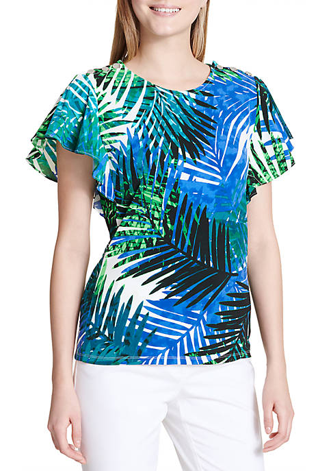 Calvin Klein Printed Flutter Sleeve Top with Buttons