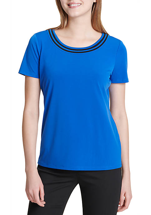 Calvin Klein Short Sleeve Neck Detail Top