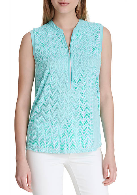 Calvin Klein Sleeveless Leaf Top With Zipper
