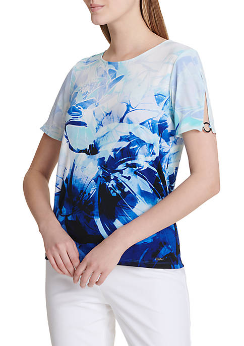 Calvin Klein Short Sleeve Print Top