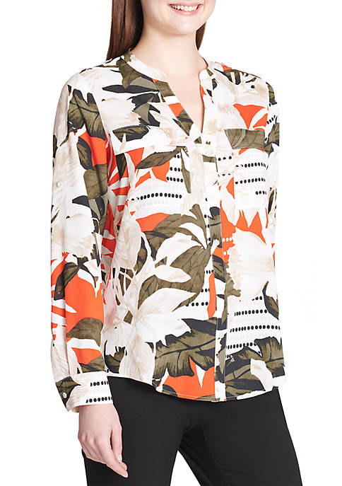 Calvin Klein Printed Roll-Sleeve Top