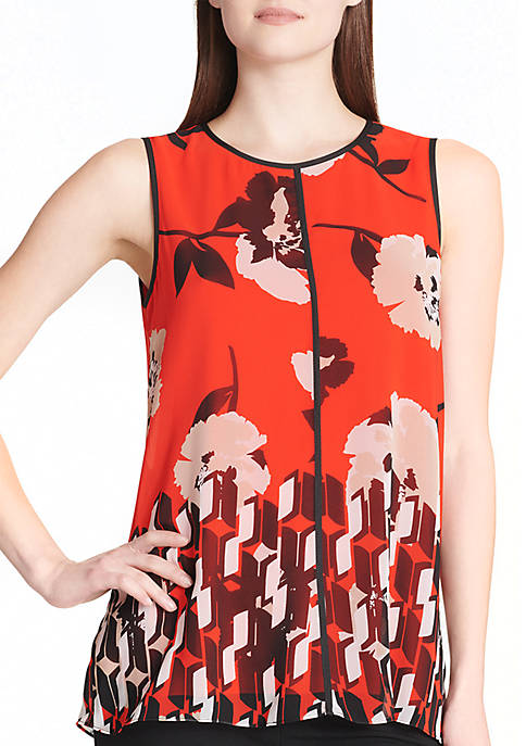 Calvin Klein Sleeveless Printed Center Seam Blouse