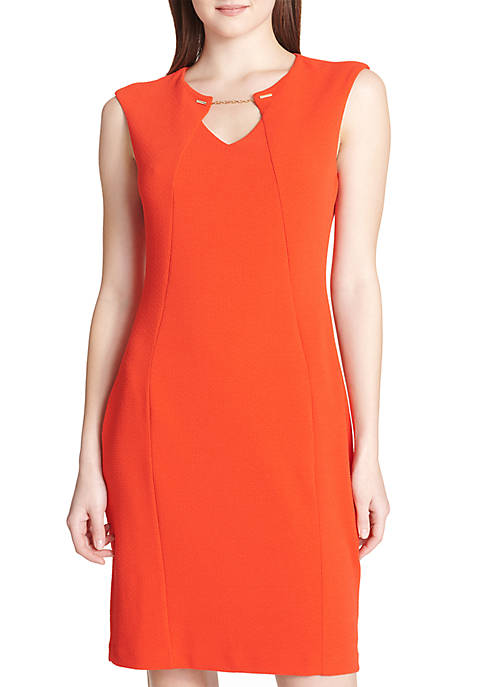 Calvin Klein Sleeveless Dress With Chain Hardware