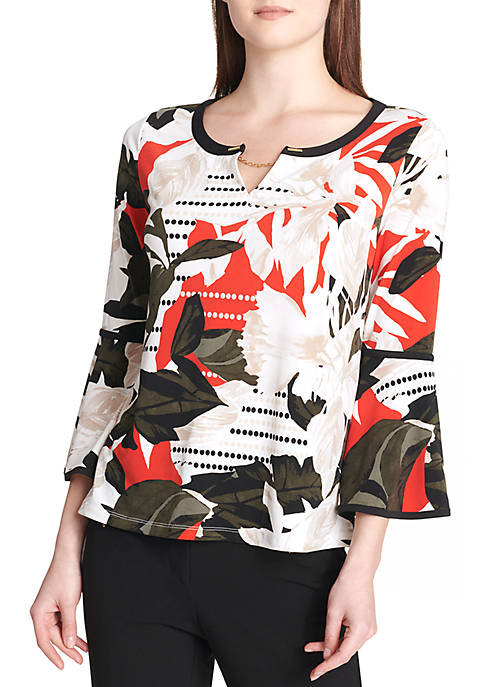 Calvin Klein Printed Long Sleeve Top With Piping