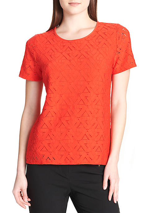 Calvin Klein Short Sleeve Triangle Lace Tee