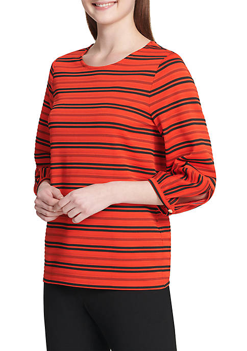 Calvin Klein Stripe Top With Bubble Cuffs
