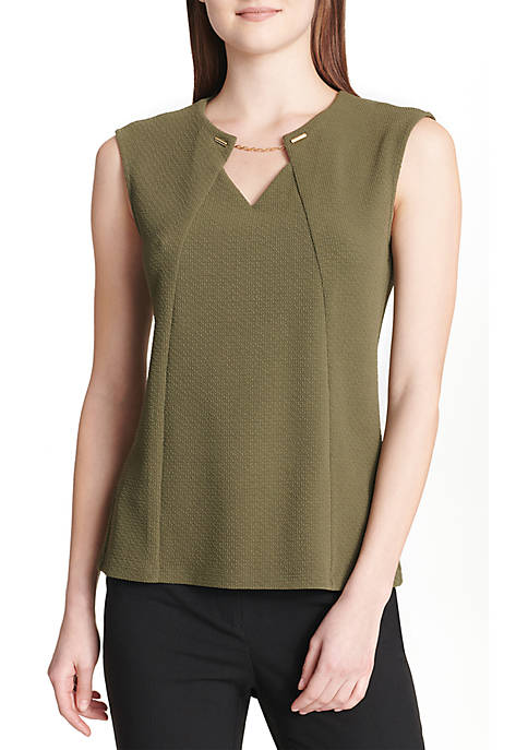 Calvin Klein Sleeveless Knit Top with Chain
