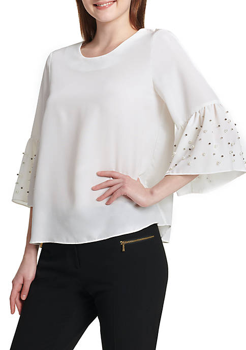 Calvin Klein Bell Sleeve Blouse with Pearls