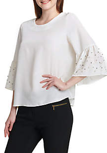 Bell Sleeve Blouse with Pearls