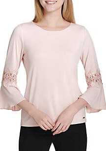 3/4 Bell Sleeve with Lace Trim Top