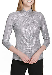 3/4 Sleeve with Wrap Collar Top