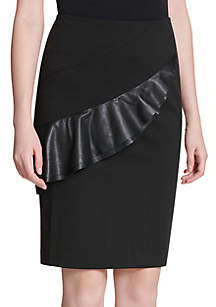 Pencil Skirt with Ruffle Trim