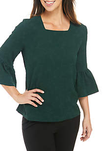 Bell Sleeves Square Neck Textured Top