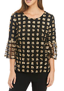 3/4 Bell Sleeve Embroidered Top
