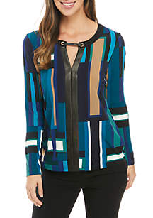 Faux Leather Trim Long Sleeve Printed Top