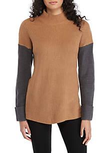 Tri-Color Mock Neck Sweater