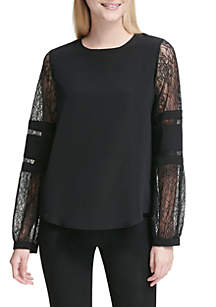 Long Sleeve Lace Inset Top