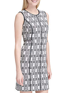Graphic Tweed Sheath Dress