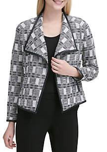 Tweed Trim Open Jacket