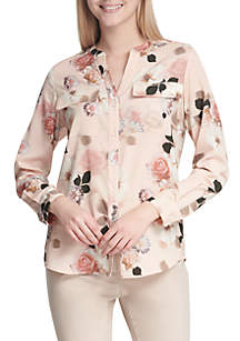 Floral Roll Sleeve Blouse