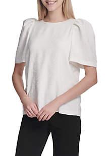 Short Sleeve Puff Sleeve Textured Top