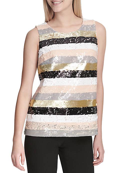 Multi-Color Sequin Stripe Top