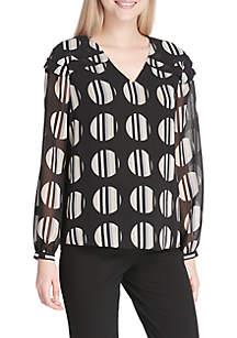 13ba770c640e5 ... Calvin Klein Dot Print Pintuck V-Neck Top