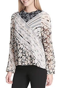Ruched Long Sleeve Printed Blouse