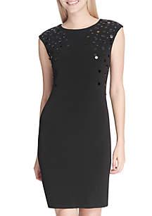 Embellished Neck Sheath Dress