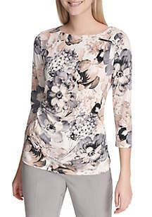 Ruched Shoulder Floral Print Knit Top