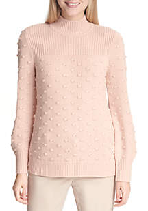 Mock Neck Color Block Textured Sweater
