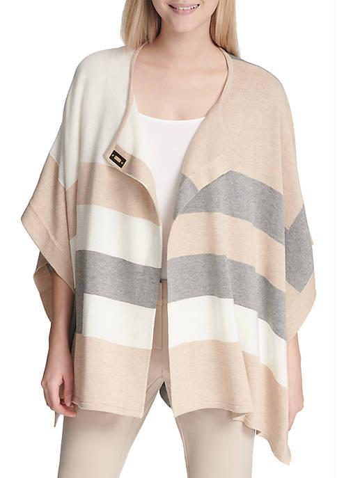 Calvin Klein Colorblock Poncho Sweater