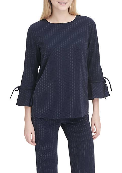 Calvin Klein Pinstripe Flare Sleeve Blouse