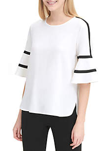 Calvin Klein Piped Flare Sleeve Blouse