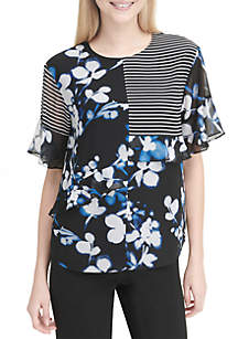 Short Ruffle Sleeve Color Block Print Top