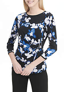 3/4 Sleeve Floral Print Knit Top