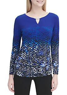 Long Sleeve Hardware Neck Ruched Print Top