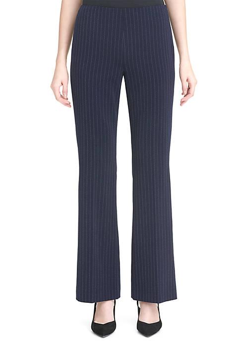 Wide Leg Pinstripe Side Zip Pants